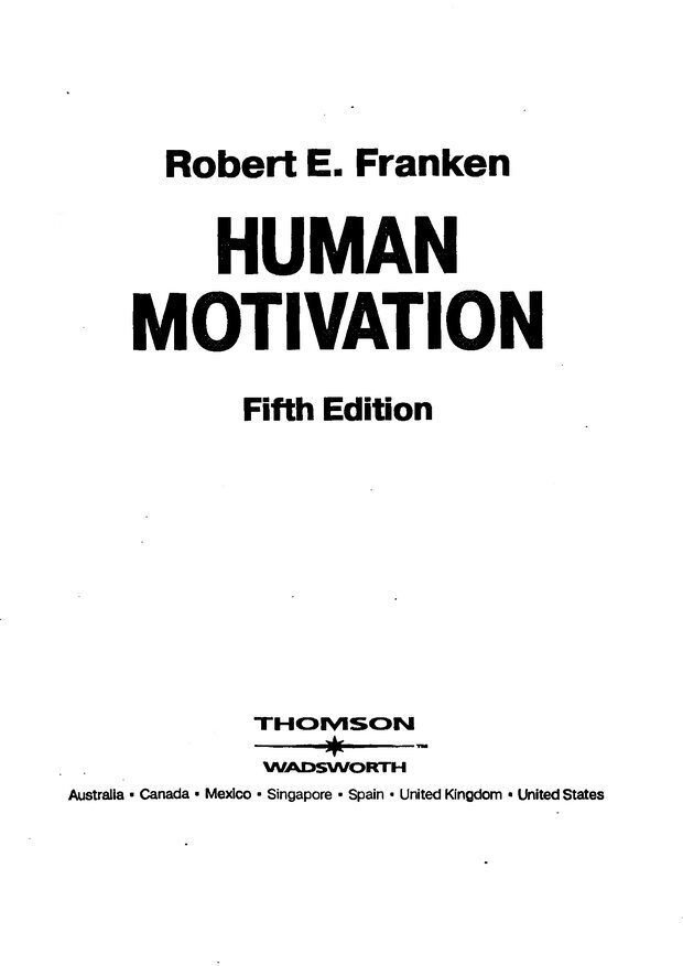 DJVU. Мотивация поведения (5-е издание). Фрэнкин Р. E. Страница 1. Читать онлайн