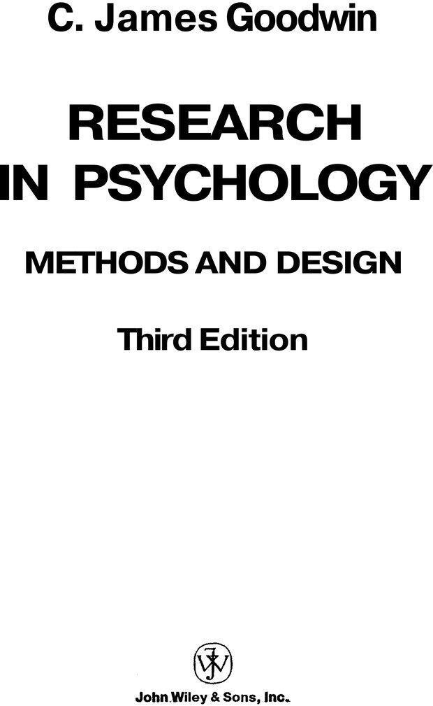 PDF. Исследование в психологии. Методы и планирование. Гудвин Д. Страница 1. Читать онлайн