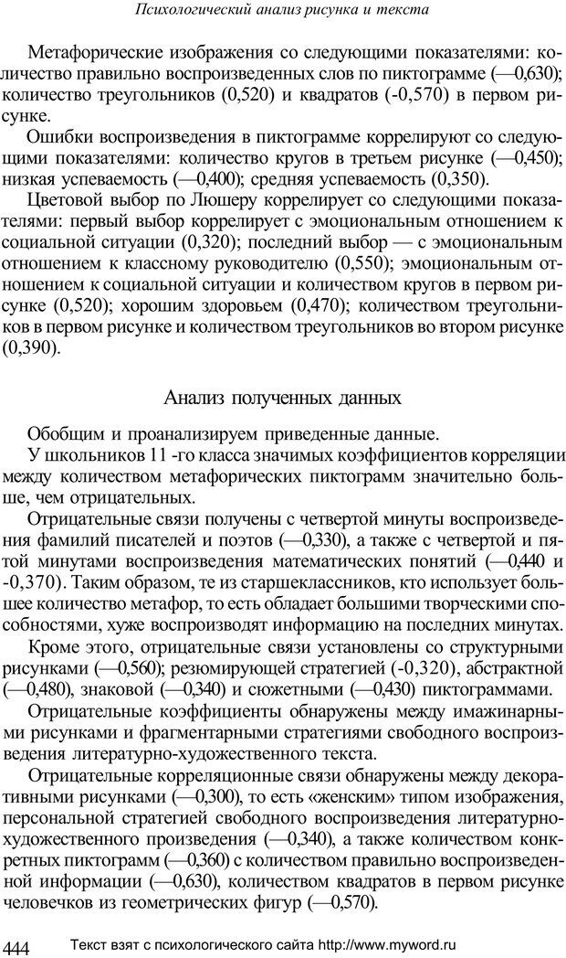 PDF. Психологический анализ рисунка и текста. Потемкина О. Ф. Страница 443. Читать онлайн