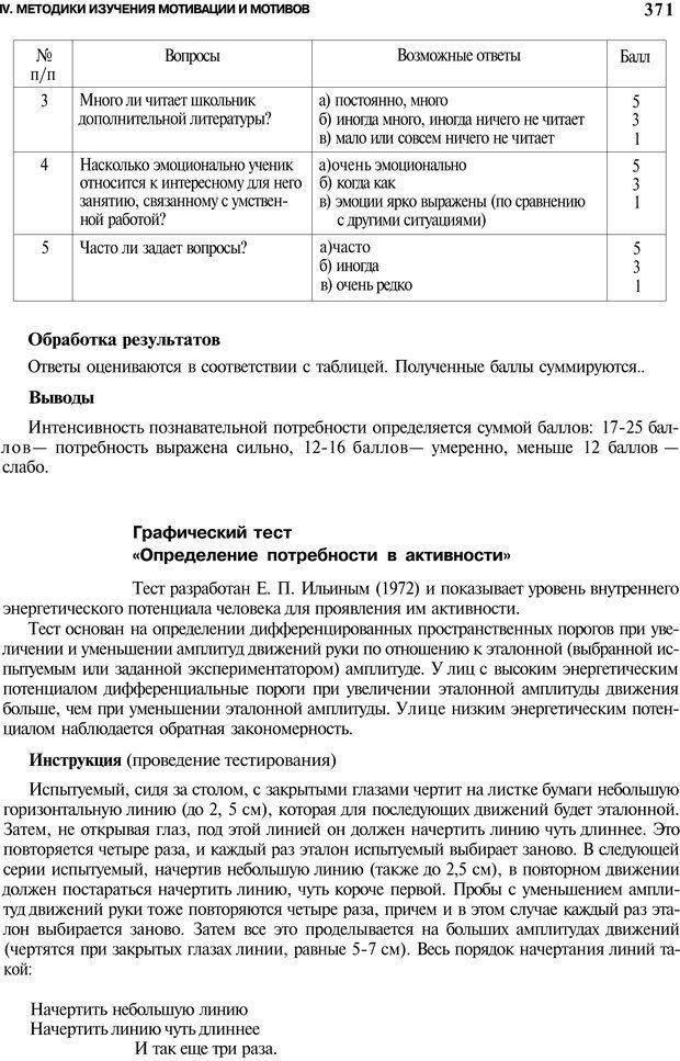 PDF. Мотивация и мотивы. Ильин Е. П. Страница 371. Читать онлайн