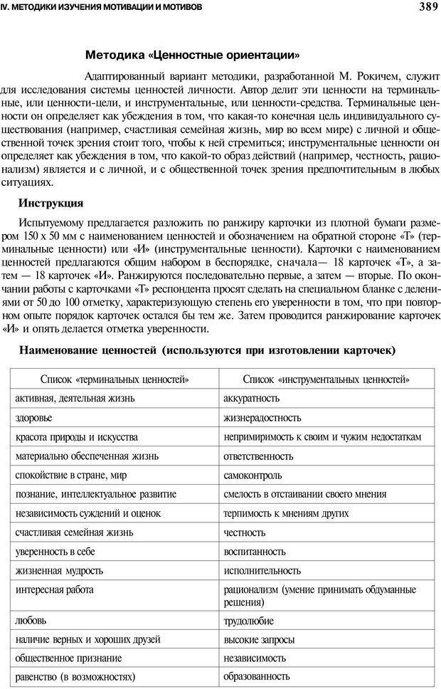 PDF. Мотивация и мотивы. Ильин Е. П. Страница 389. Читать онлайн